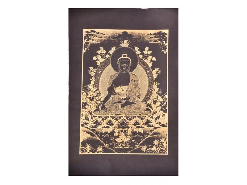 Buddha léčitel, zlatý tisk na černém papíru, 50x75cm