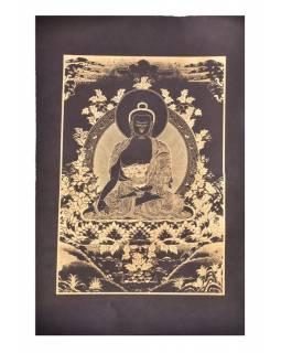 Buddha léčitel (Medicine), zlatý tisk na černém ručním papíru, 50x75cm