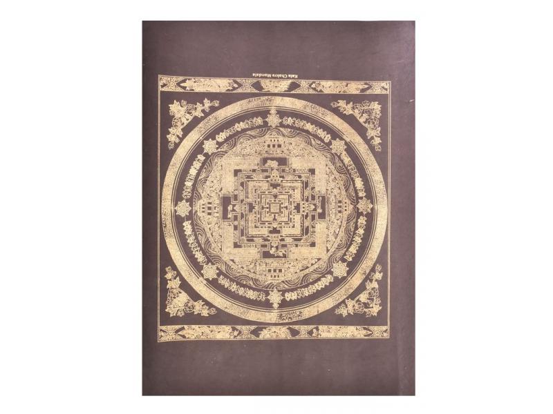 Kalačakra mandala, zlatý tisk na černém papíru, 47x36