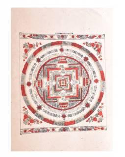 Kalačakra mandala, tisk na ručním papíru, červeno zlatá, 47x36