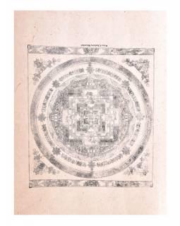 Kalačakra mandala, tisk na ručním papíru, 47x36