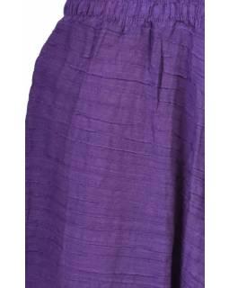 Kalhoty turecké, fialové, ozdobné šikmé prošívání, žabičkování