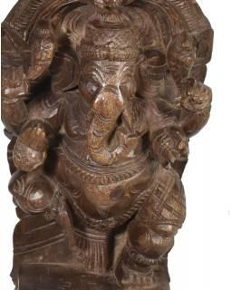Ganéš, ručně vyřezávaná socha z mangového dřeva, antik, 33cm