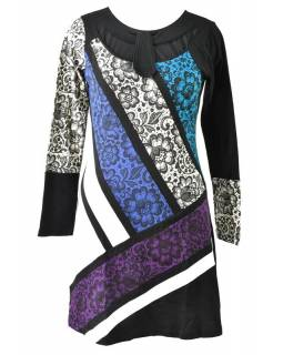 Tyrkysovo-fialové šaty s květinovým potiskem, dlouhý rukáv
