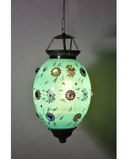 Oválná skleněná lampa zdobená barevnými kameny, modrá, ručně malovaná, 40x25cm