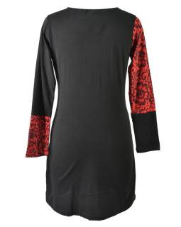 Šedo-vínové šaty s květinovým potiskem, dlouhý rukáv
