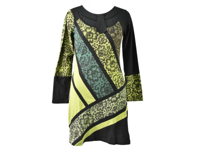Šedo-zelené šaty s květinovým potiskem, dlouhý rukáv