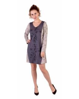Šedo-bílé šaty s dlouhým rukávem, Natural design, potisk, Bio bavlna
