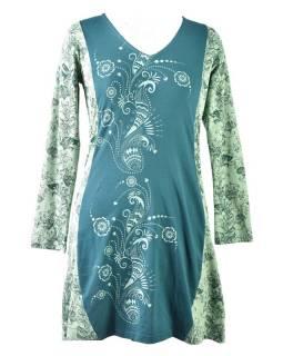 Zelené šaty s dlouhým rukávem, Natural design, potisk, Bio bavlna