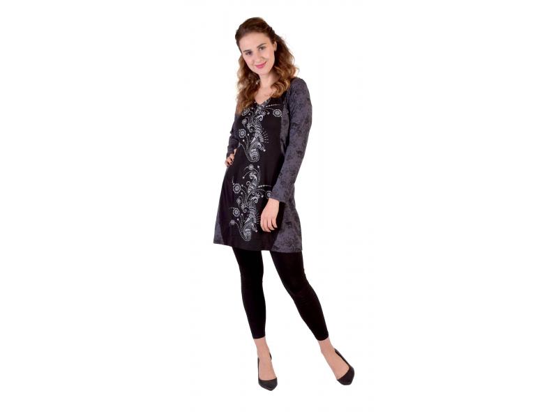 Černo-šedé šaty s dlouhým rukávem, Natural design, potisk, Bio bavlna