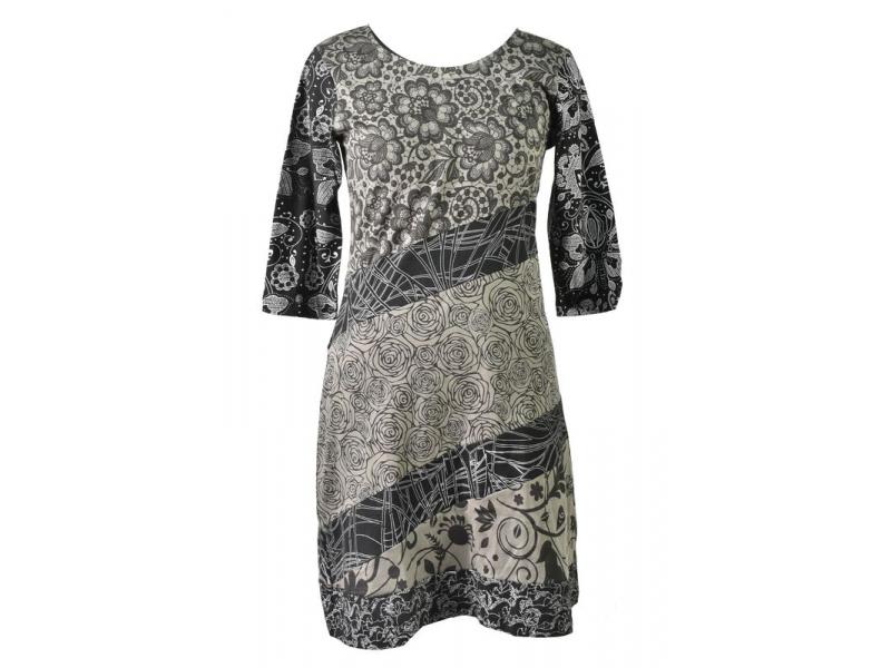 Černo-šedé šaty s květinovým potiskem a tříčtvrtečním rukávem