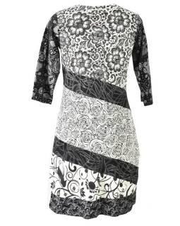 Černo-bílé šaty s květinovým potiskem a tříčtvrtečním rukávem