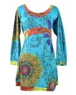 """Tyrkysovo-zelené šaty s dlouhým rukávem """"Mandala"""", barevný potisk"""