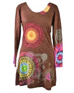 Hnědé šaty s dlouhým rukávem, Mandala potisk, kulatý výstřih