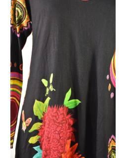 Černé balonové šaty s dlouhým rukávem, Mandala potisk, kulatý výstřih