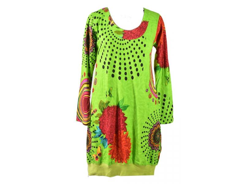 Zelené balonové šaty s dlouhým rukávem, Mandala potisk, kulatý výstřih