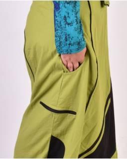 Dlouhé turecké kalhoty s laclem, zeleno-černé, spirála na kapse, knoflík