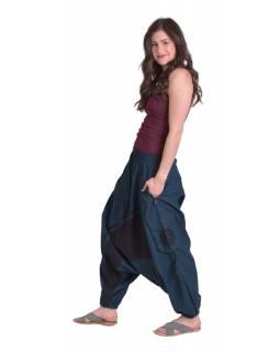 Dlouhé turecké kalhoty, tmavě modrá-černá, spirála, kapsy, pružný pas