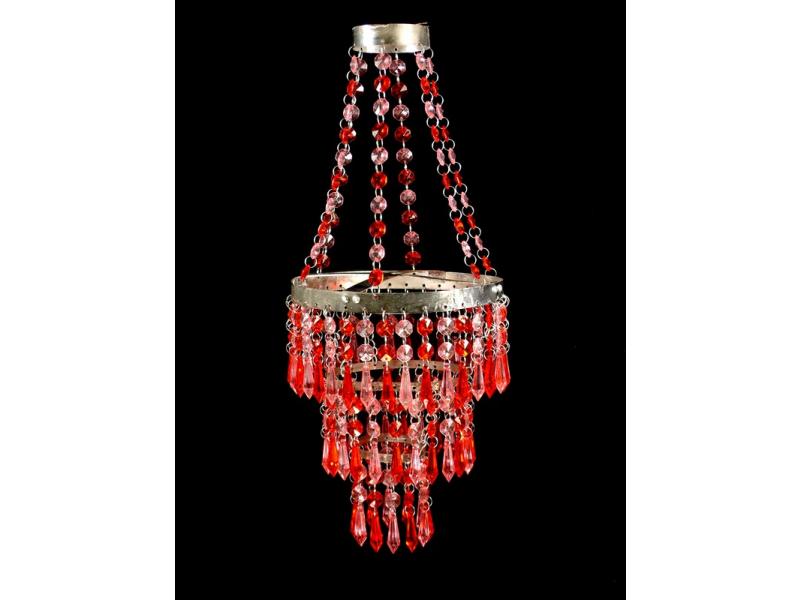 Ozdobný plastový lustr - stínidlo, červeno růžové korálky, průměr 20cm