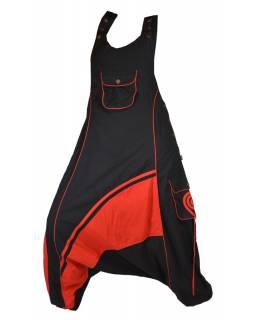 Dlouhé turecké kalhoty s laclem, černo-červené, spirála na kapse, knoflík
