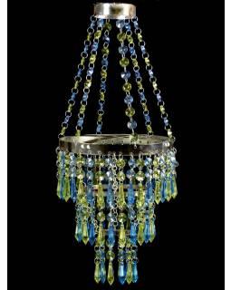 Ozdobný plastový lustr - stínidlo, zeleno modré korálky, průměr 20cm