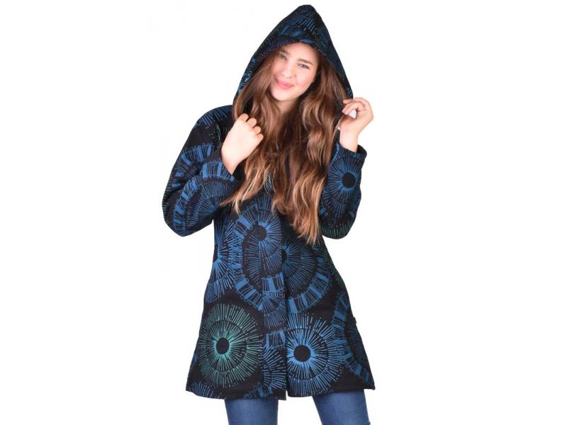Černo-modrý dámský kabát s kapucí zapínaný na zip, barevný mandala potisk, kapsy