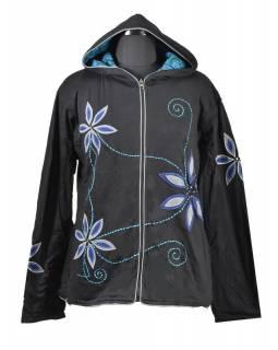 Černo-modrá dámská mikina s kapucí zapínaná na zip, potisk a výšivka květin