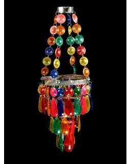 Ozdobný plastový lustr - stínidlo, multibarevné korálky, 53cm