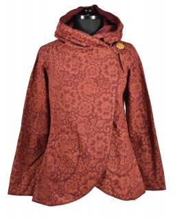 Vínový kabát s kapucí zapínaný na knoflík, kapsy, celopotisk