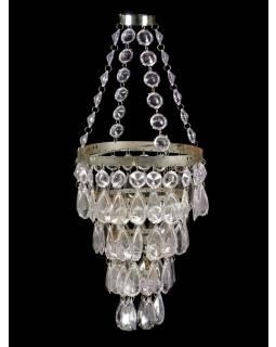 Ozdobný plastový lustr - stínidlo, čiré korálky, 61cm