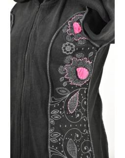 Černo-růžový fleecový kabátek s dlouhou kapucí, zapínání na zip, kapsy