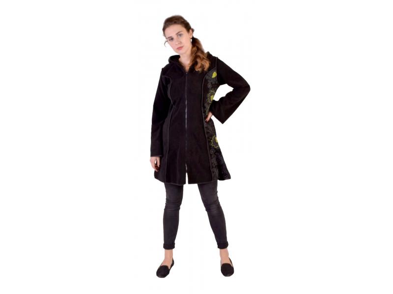 Černo-zelený fleecový  kabátek s dlouhou kapucí, zapínání na zip, kapsy
