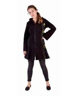 Černo-zelený fleecový  kabátek s dlouhou kapucí, zapínání na zip