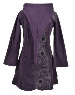 Švestkový fleecový kabátek s dlouhou kapucí, zapínání na zip, kapsy