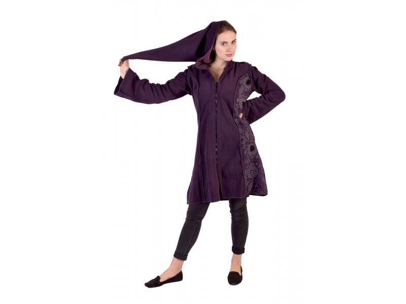 Švestkový fleecový kabátek s dlouhou kapucí, zapínání na zip