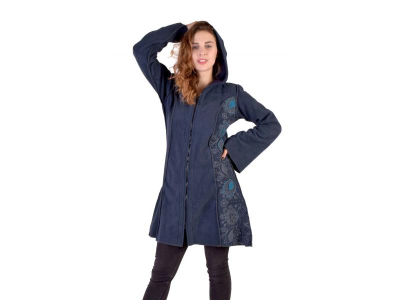Modrý fleecový kabátek s dlouhou kapucí, zapínání na zip