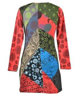 Krátké šaty s dlouhým rukávem, multibarevný patchwork, Patch design