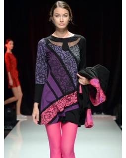 Šedo-růžové šaty s květinovým potiskem, dlouhý rukáv