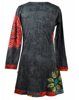 """Šedo-červené šaty s dlouhým rukávem """"Mandala"""", barevný potisk"""