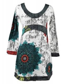 """Bílo-šedé šaty s dlouhým rukávem """"Mandala"""", barevný potisk"""