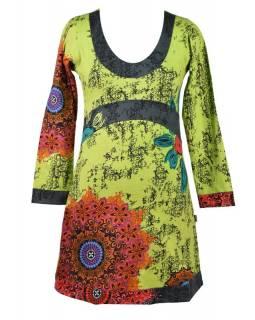 """Zeleno-šedé šaty s dlouhým rukávem """"Mandala"""", barevný potisk"""