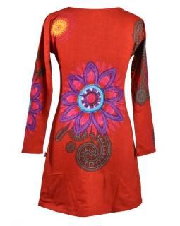 Červené šaty s dlouhým rukávem, Mandala potisk, kulatý výstřih