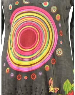 Šedé balonové šaty s dlouhým rukávem, Mandala potisk, kulatý výstřih