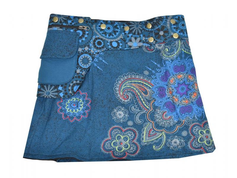Krátká modrá sukně zapínaná na patentky, kapsa, flower potisk a výšivka