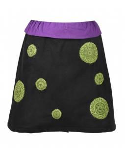 Krátká černo fialová sukně s chakra aplikacemi a pružným pasem