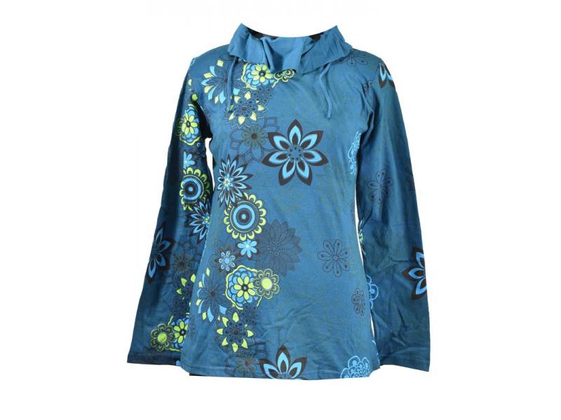 Petrolejové tričko s dlouhým rukávem a límcem, flower design