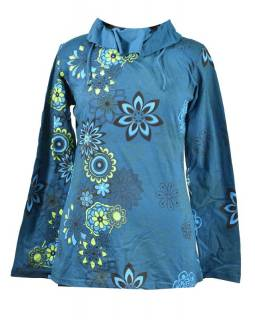 Petrolejové tričko s dlouhým rukávem a límcem 2622cf1448