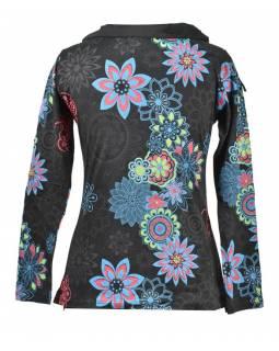 Černo-modré tričko s dlouhým rukávem a límcem, flower design