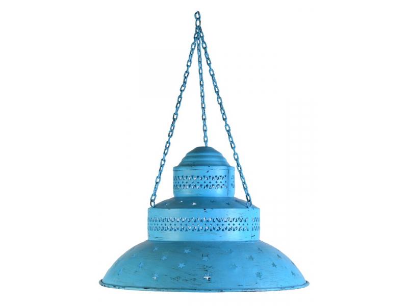 Kovová lampa v orientálním stylu, modrá patina, průměr 46cm