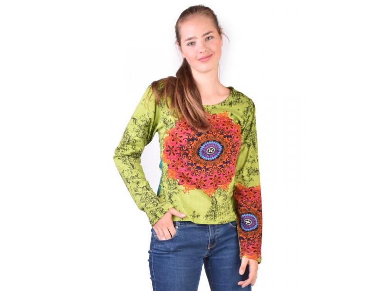 Zelené tričko s dlouhým rukávem, Mandala potisk, kulatý výstřih